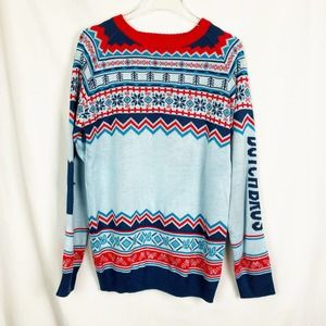 Dutch Bros Holiday Print Sweater Blue Red Large